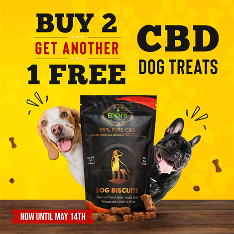 Banner announcing Eden's Herbals Buy  2 Get another 1 Free Sale on CBD Dog Treats