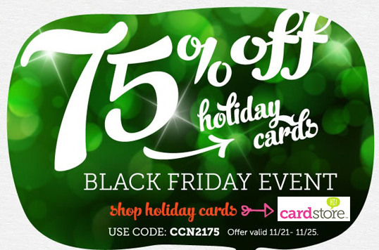 Black Friday! 75% off Holiday Cards & Invites + FREE Shipping at Cardstore, Use Coupon Code: CCN2175