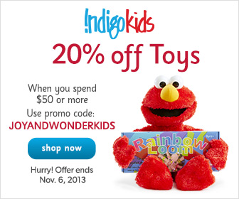 20% off Toys When You Spend $50 or More at Indigo.ca! Hurry - offer ends Nov. 6th.