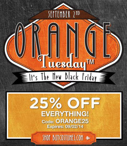 BuyCostumes Orange Tuesday! 25% Off Costumes TODAY ONLY! Includes Frozen, TMNT, Duck Dynasty, MORE!