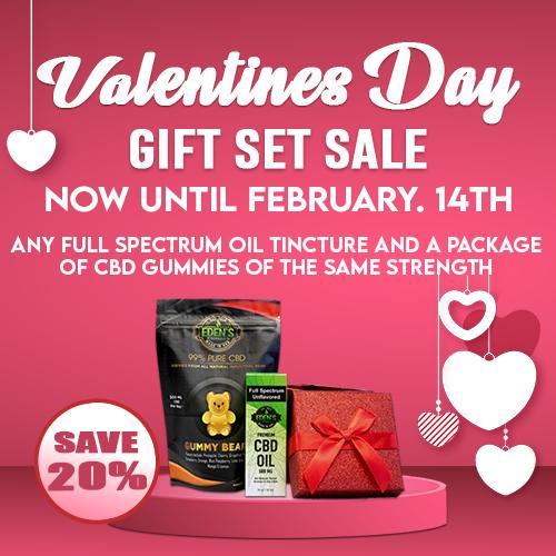 Banner announcing Eden's Herbals 20% off Valentines CBD Gift Set Sale
