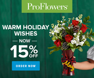 ProFlowers Promo Code - 15% off Holiday Flowers & Gifts at ProFlowers 300x250
