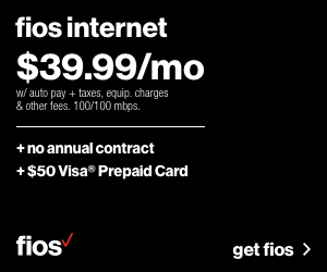 Fios 100/100 Mbps Internet for $39.99/mo for 1 yr. Get a $50