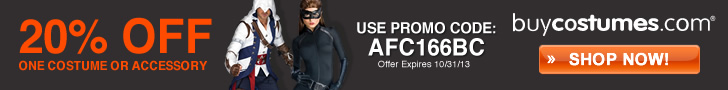20% Off 1 regular priced item from Buycostumes.com!* Use promo code: AFC166BC. Offer expires 10/31