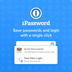 Save passwords using 1Password!