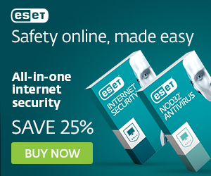 ESET Promo Code - ESET Antivirus and Internet Security for Windows computers and laptops - Save 25%