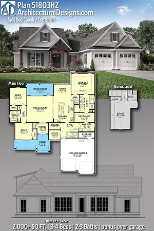Plan 51803 - Split Bed Country Craftsman House Plan - ArchitecturalDesigns.com