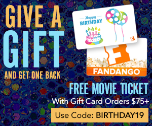 300x250 Fandango Gift Card: Free Movie Ticket with Gift Card Orders $75+