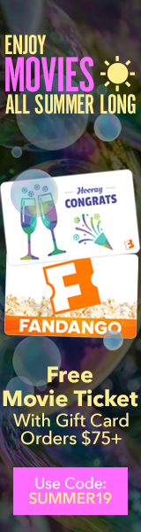 160x600 Get a $15 Fandango Promotional Code on purchase of $75 worth of Fandango gift cards!