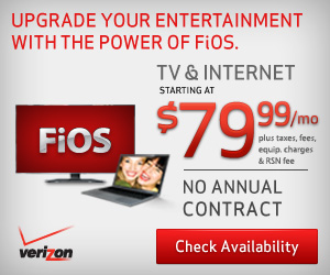 Get FiOS Double Play TV & Internet for only $74.99/mo! + $5/mo discount! + No Annual Contract!