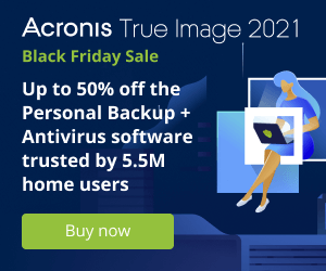 Acronis True Image - up to 50% off Black Friday Sale
