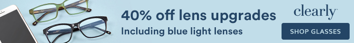 Save 40% off lenses at Clearly with code: LENSUP40