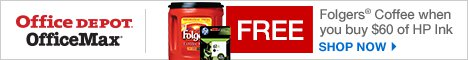 Free Folgers Coffee when you buy $60 in HP Ink