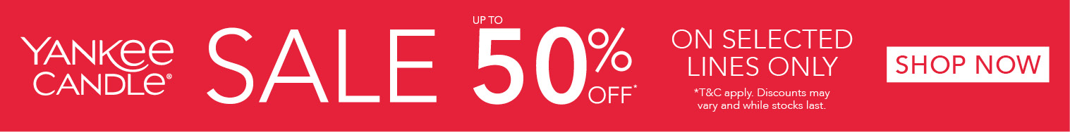 Yankee Candle Scented candles sale get 50% off