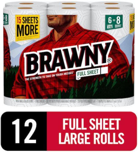 BRAWNY Full-Sheet Large Paper Towel Rolls