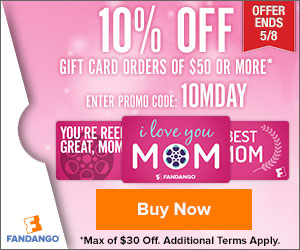 10% off $50 or More in Gift Cards for Mother's Day