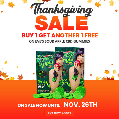 Banner announcing Eden's Herbals Thanksgiving Sale; Buy 1 Get Another 1 Free Eve's Sour Apple Gummie