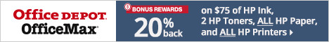 Bonus Rewards! 20% Back on $75 or more of HP Ink, 2 HP Toners, ALL HP Paper, and ALL HP printers