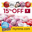 My M&M's Heart DIY Kit includes 16 hearts with 2 lbs of personalized M&M's candy
