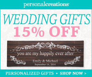Personal Creations promo code - 15% off wedding gifts