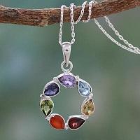 Multi-gemstone Necklace Chakra Jewelry from India