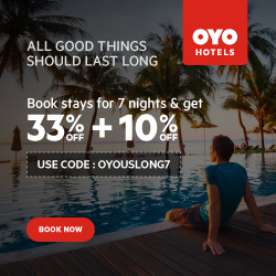 Book an OYO Hotel for 7 nights & get 33% OFF + 10% OFF! Use code: OYOUSLONG7