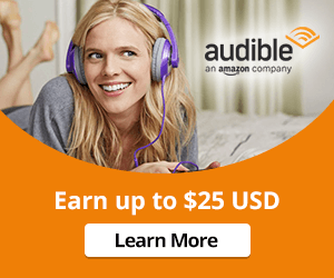 Earn up to $25 USD with a three month trial to Audible.com