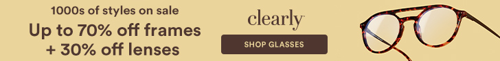 Up to 70% off frames + 30% off lenses at Clearly!