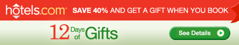 Save 40% and Get a Gift during the 12 Days of Gifts with hotels.com! Book by 12/12/11