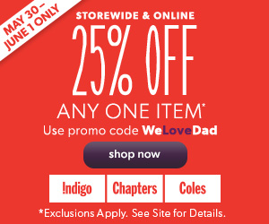 Save 25% Off Any One Item. Use Promo Code WeLoveDad. Exclusions Apply, See Site for Details.